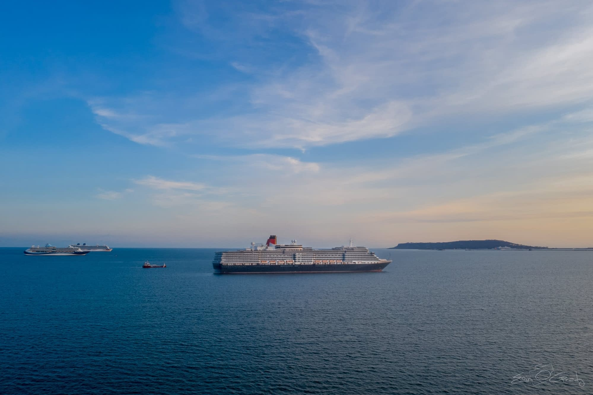 Cunards Queen Victoria in Weymouth Bay.