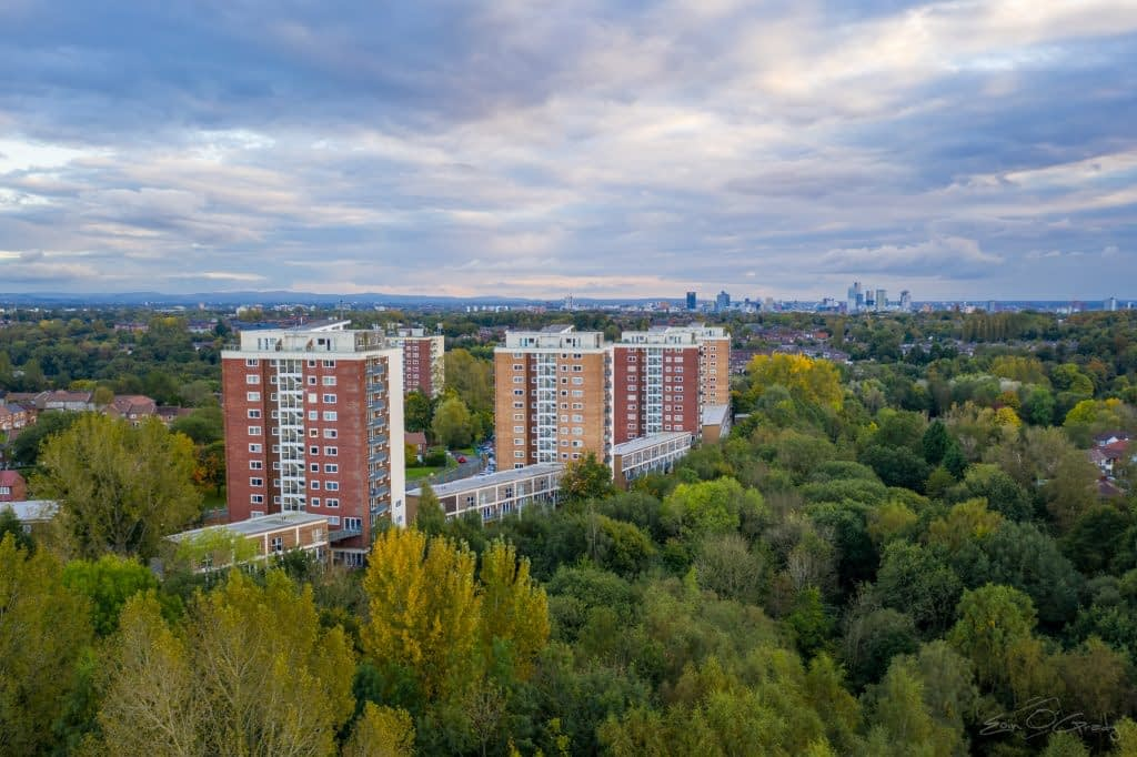 Aerial photo of Lakeside Rise, Manchester