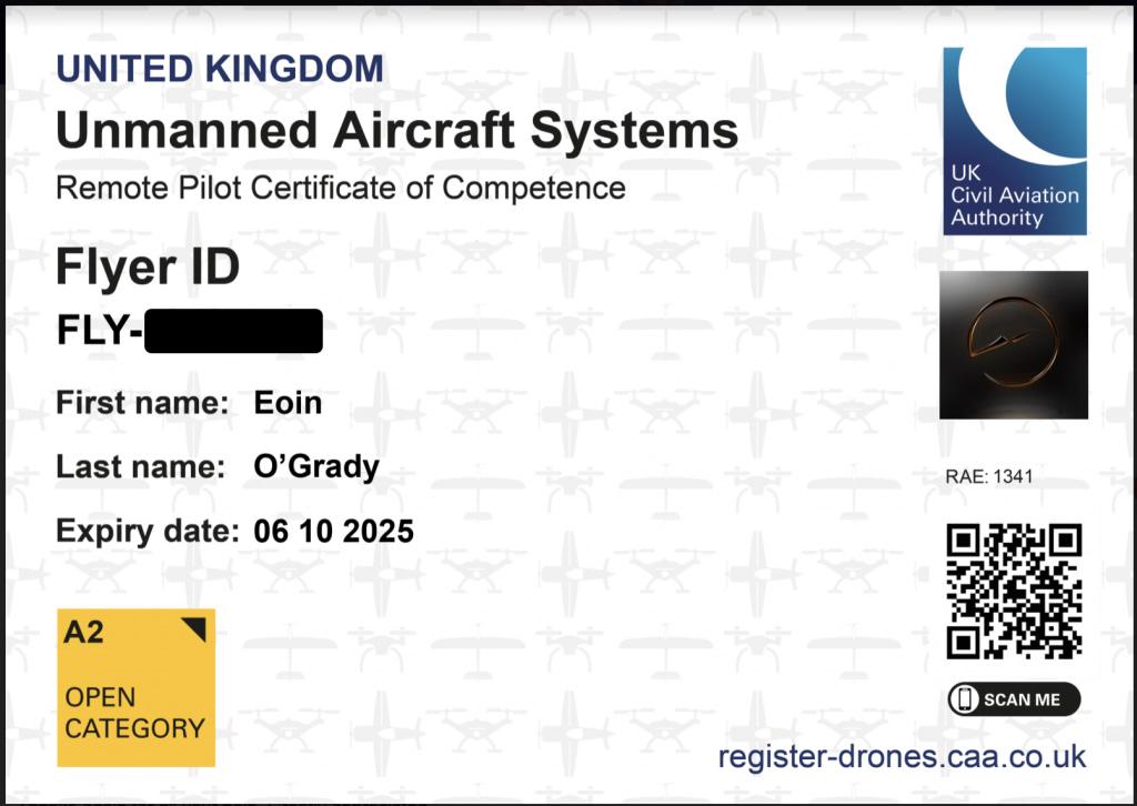 A2 CofC Certificate Eoin O'Grady