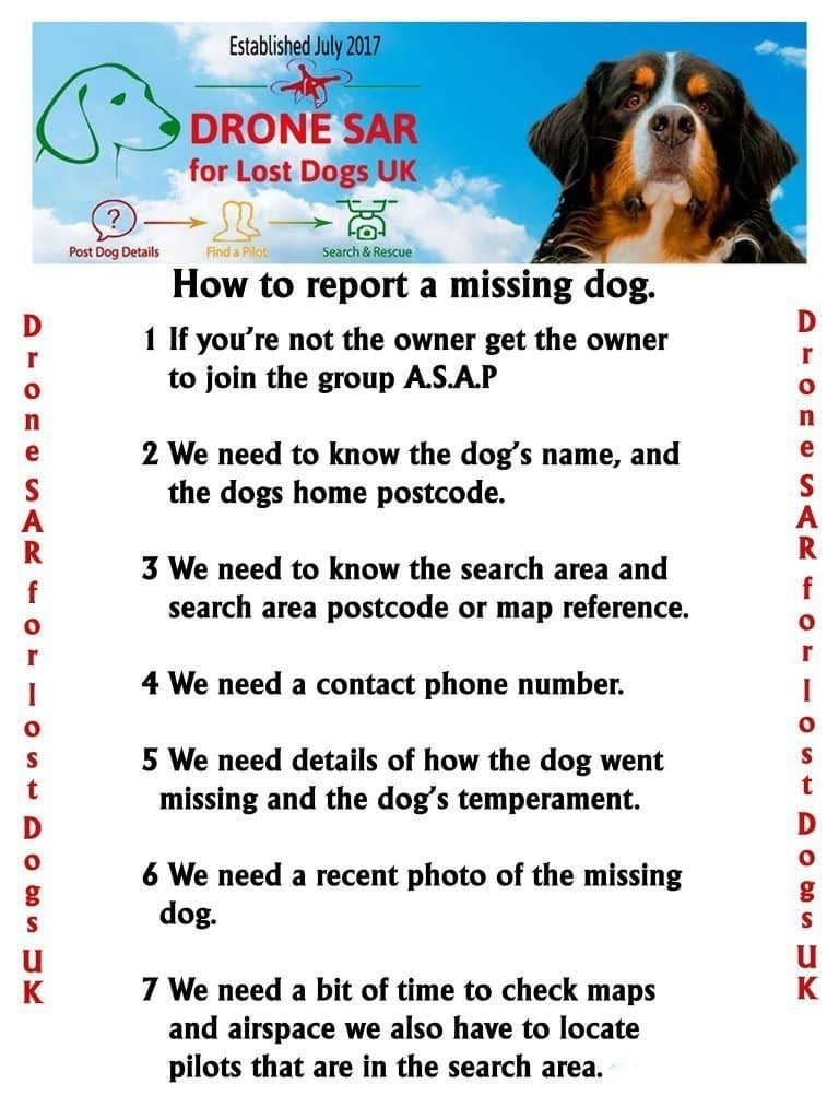 How to report a missing dog to Drone SAR for Lost Dogs UK.